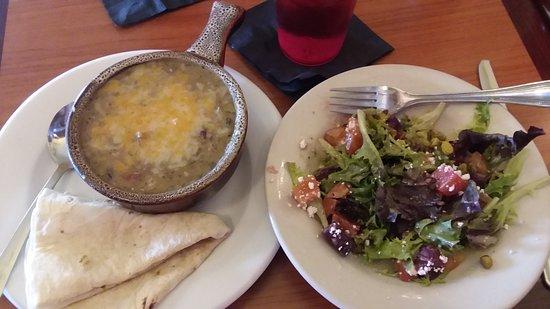 Pine, CO: Green chili bowl and 1/2 beet salad