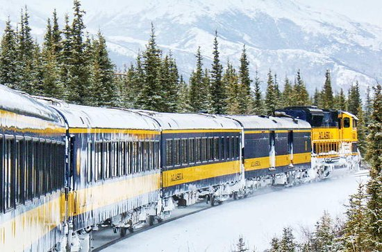 Alaska Railroad Aurora Winter