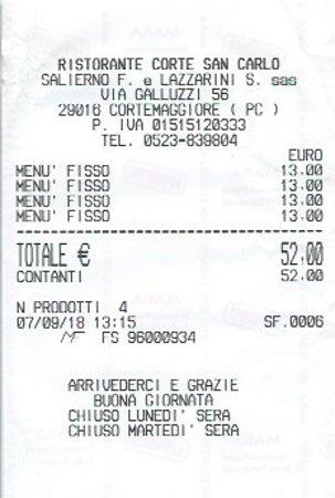 Cortemaggiore, Italie : il conto dei menù a prezzo fisso