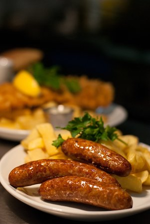 Whiterow Fish And Chips: Sausage and Chips