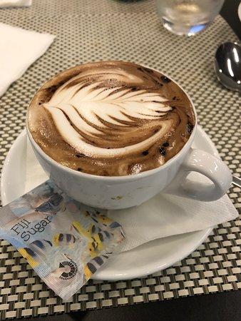 Mocha latte in the Fiji Airways Lounge - Picture of Fiji Airways