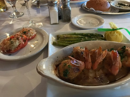 Gaido's: Large stuffed shrimp, Parmesan roasted tomatoes, and asparagus. Delicoius.