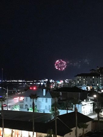 Fireworks over the water as seen from the balcony.