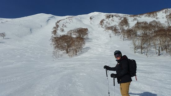 Shikotsu-Toya National Park, Japan: The ski down after the long climb. Steep and fun!