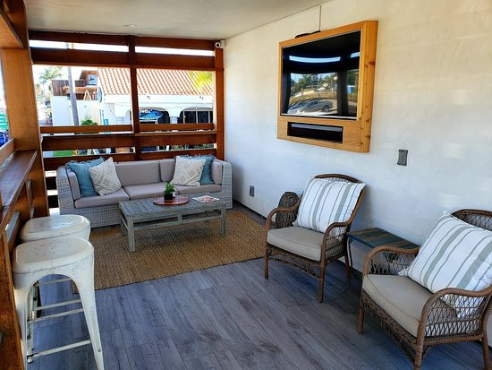 Surfhouse Boutique Hotel Covered Patio Deck On Second Level Overlooks Coast Highway