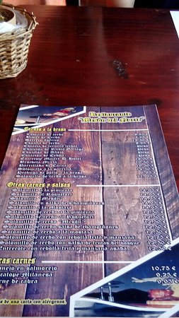 Restaurante Meson Del Norte: La carta