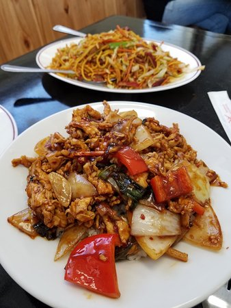 Middleton, ID: Mandarin Hot Spicy Chicken in bowl size also comes platter size & Chow Mein