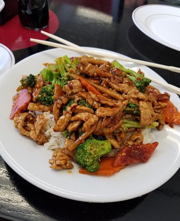 Middleton, ID: Hunan Pork in rice bowl size also comes platter size