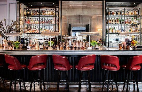 View of the bar at 108 Brasserie