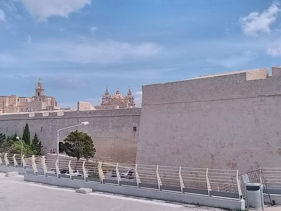 Mdina Old City: City walls with Cathedral in background