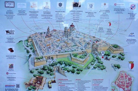Mdina Old City: Mdina map at the main gate