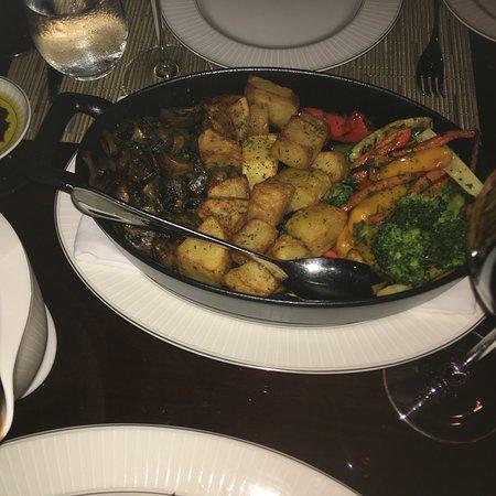 Fiorentina (1.3kg) Grilled US Prime T-bone Steak Mushroom Trifolati, Roasted Vegetables, Pepperc