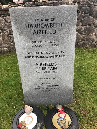 Buckland Monachorum, UK: Memorial stone planted by Airfields of Britain Conservation Trust.