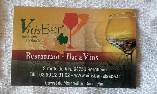 VitisBar La Carte De Visite Du Restaurant