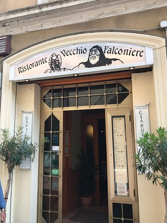 Vecchio Falconiere: Entrance to restaurant. Large indoor and outdoor eating area.