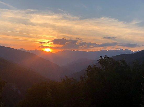 Mavrovi Anovi, Republic of North Macedonia: Sunset behind mt Korab