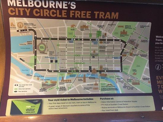 フリートラムゾーンの地図 picture of city circle tram melbourne