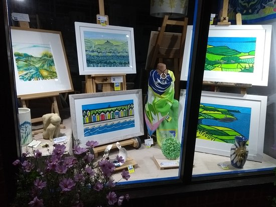 Swanage, UK: our shop window display in lime green for September