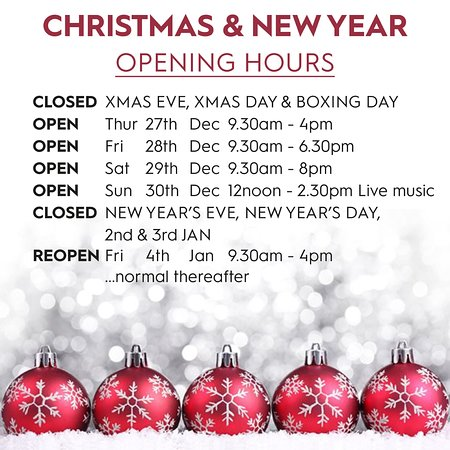 Whalley, UK: Christmas opening hours