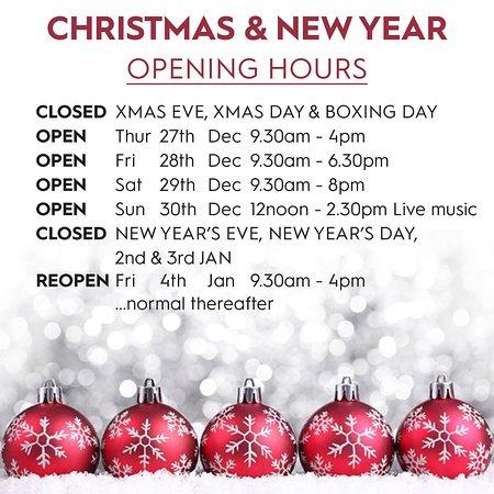 Christmas Opening Hours.Christmas Opening Hours Picture Of Breda Murphy Restaurant