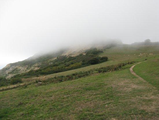 Golden Cap Estate: Golden Cap hidden by clouds.