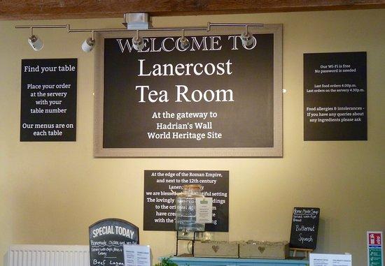 Lanercost Tea Room menu boards
