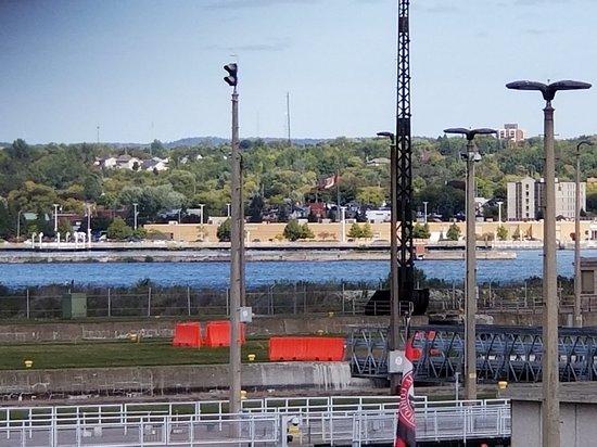 Looking across Soo Locks at Canada.