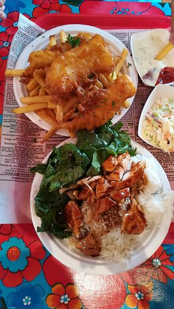 Fish and Chips Sausalito: Pollo teriyaki with rice and fish and chips