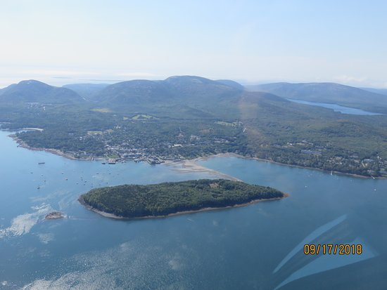 Acadia Air Tours: Bar Harbor from the air.