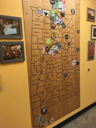 Yellowhammer Brewing: Map of Alabama with brewery stickers
