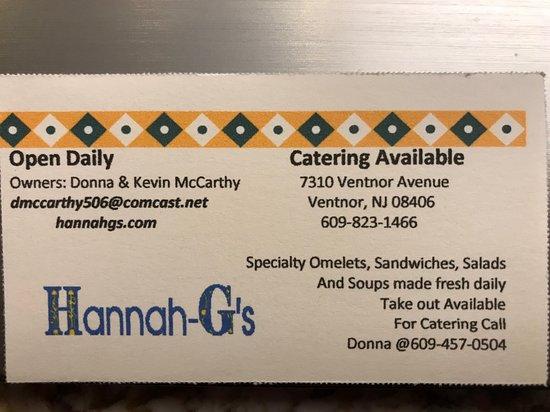 Ventnor City, نيو جيرسي: Hannah-G's Business Card