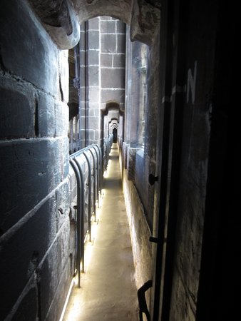 Chester Cathedral: The walkway along the gallery, 70' / 21m above the Nave