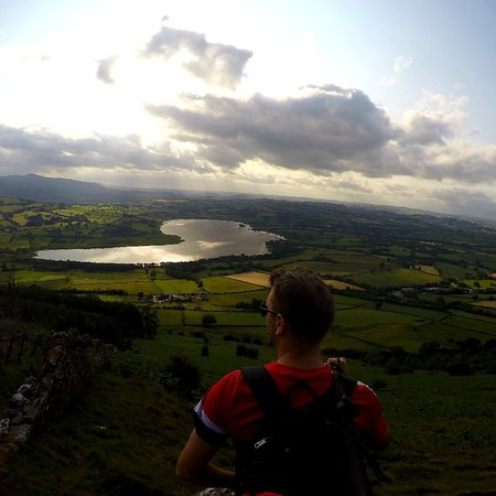 Llangorse, UK: The view of the lake and valleys is an easy hike from the climbing centre.