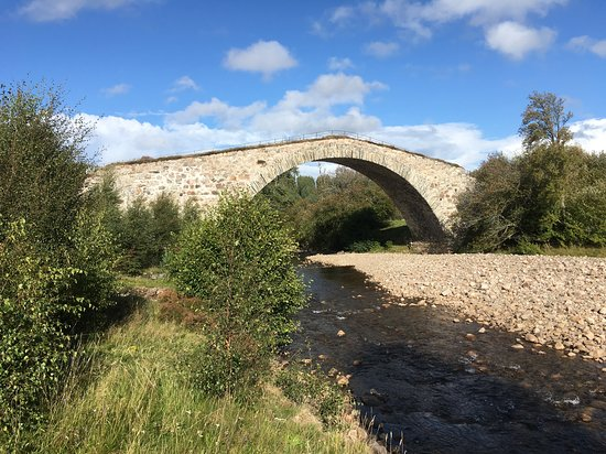 Carrbridge, UK: Sluggan bridge - from the river bank