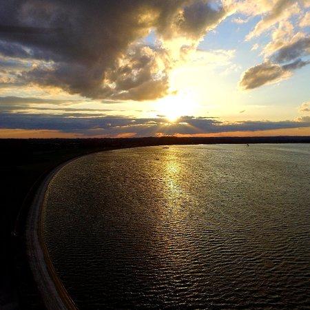The Farmoor Reservoir from the air.