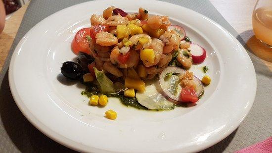 Merlimont-Plage, França: Salade de crevettes mangue