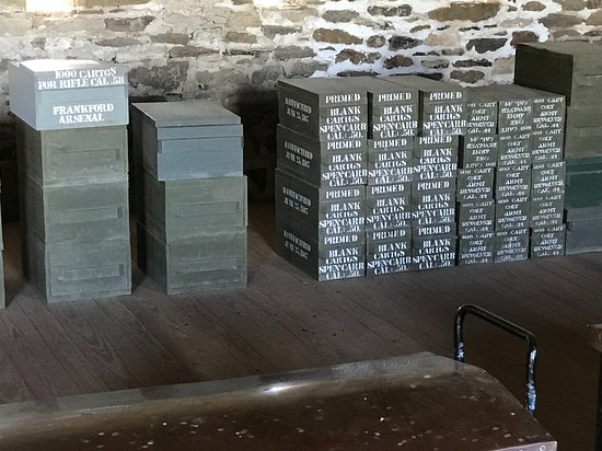 "Larned, KS: Stacked boxes of ammo cartridges in the ""magazine"""