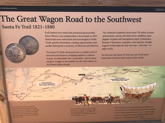 Larned, KS: Information board about the Santa Fe trail