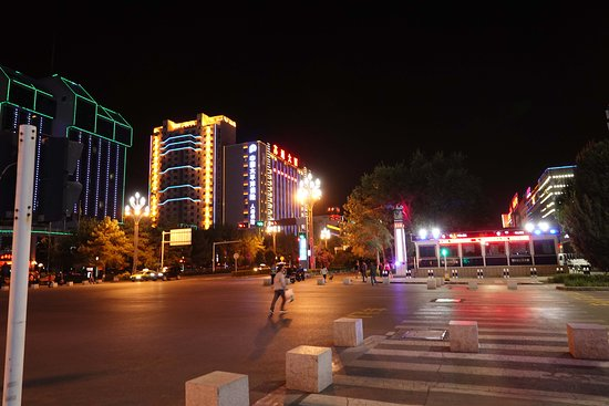 Kuitun, China: Bright lights across the road.