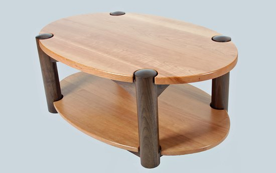 Detail Cherry And Walnut Oval Coffee Table With Shelf