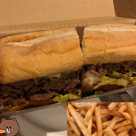 Germantown, MD: Steak & cheese sandwich w/lettuce, tomato, mayo, provolone, side pickle $5.49 + fries $1.59