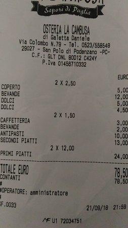 Podenzano, Italy: il conto