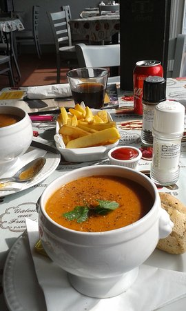 Soup at Abbots tea room Cerne Abbas