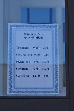 Pavilosta, Latvia: Часы работы музея