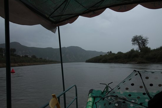 View from bamboo boat on Tumen river - left: China, right: N. Korea