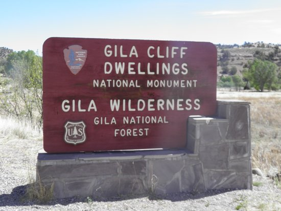Entry sign to Gila Cliff Dwellings National Monument
