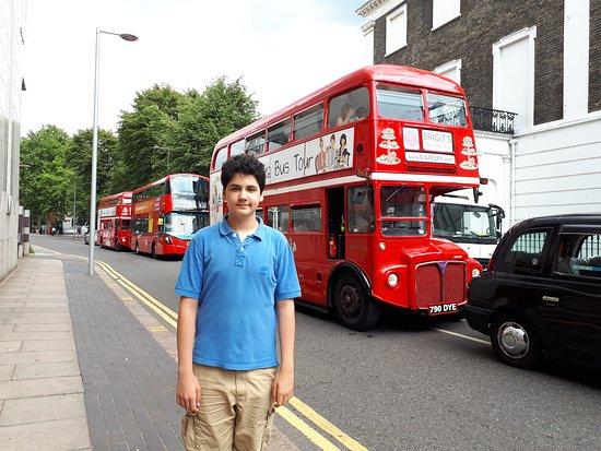 South Kensington: Double deck bus and black cab