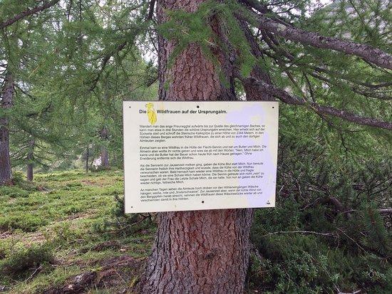 Pichl, Austria: Dieses Schild erinnert an die schaurige Mär über die Wildfrauen