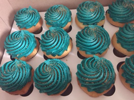 Melrose, MA: vanilla with teal frosting and gold sand glitter