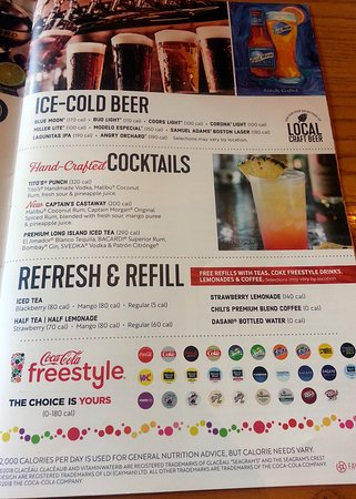 Chili's menu cover page - Picture of Chili's Grill & Bar, Rosemont
